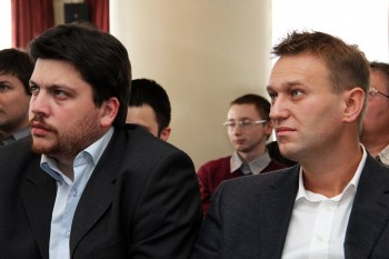 Leonid Volkov, left, and Alexei Navalny, tech-savvy Jews providing Moscow mayoral candidate Alexei Navalny with some creative strategies, earlier this year in Moscow. (Leonid Volkov)