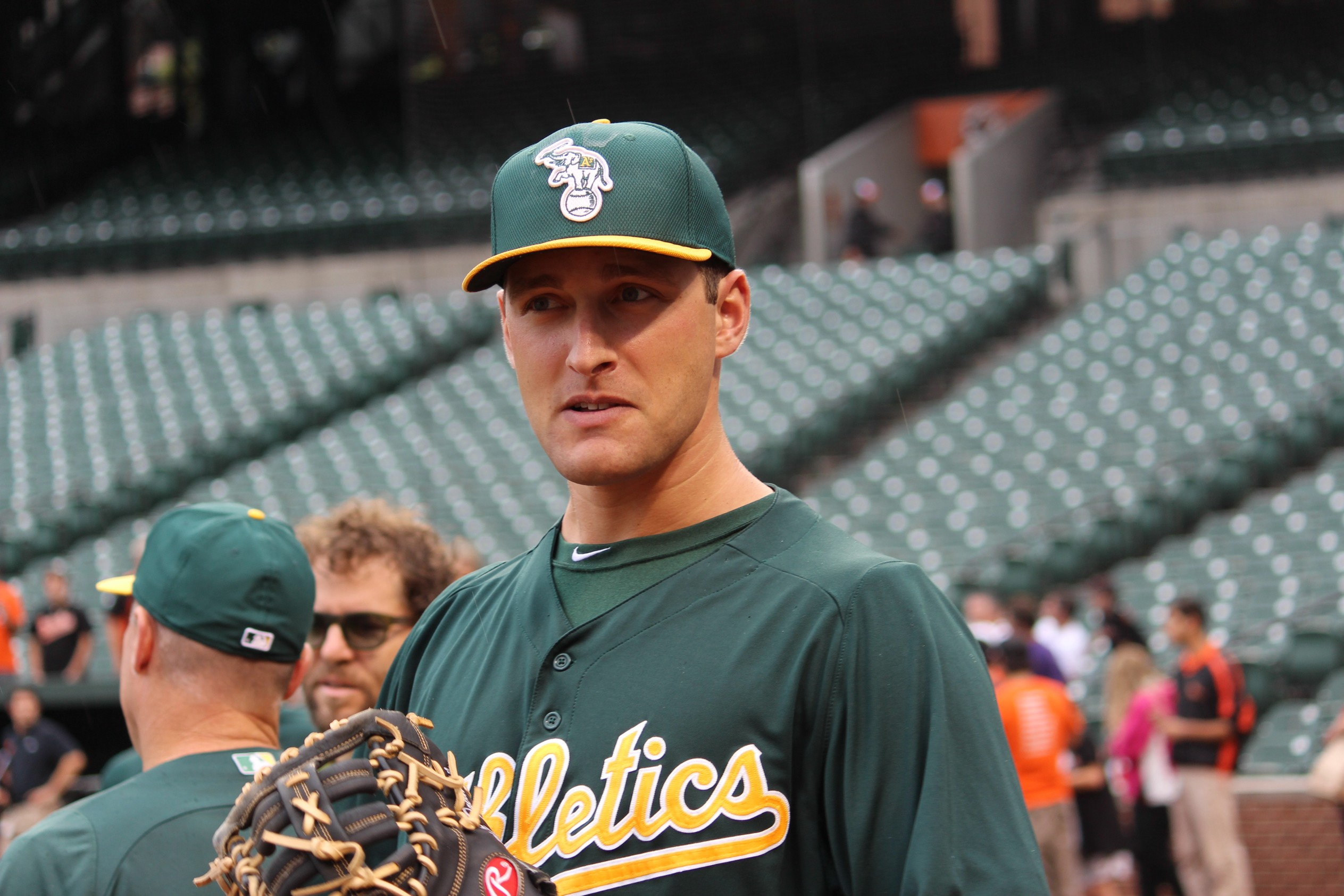 Nate Freiman, a rookie first baseman for the Oakland Athletics, is trying to help his team make the playoffs. (Hillel Kuttler)