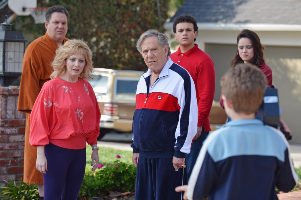 "A scene from the ABC show ""The Goldbergs,"" starring Jeff Garlin, Wendi Mclendon-Covey and George Segal. (ABC/Eric McCandless)"