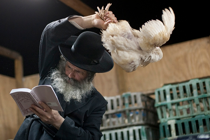 A haredi Orthodox man participates in the kapparot ritual in the Israeli city of Ashdod. (Dima Vazinovich/Flash90)