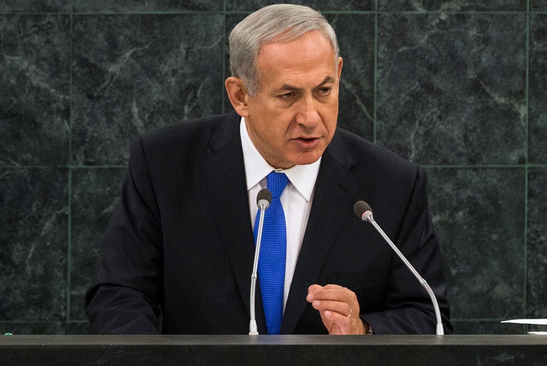 Israeli Prime Minister Benjamin Netanyahu speaks at the 68th United Nations General Assembly on Oct. 1, 2013. (Andrew Burton/Getty Images)