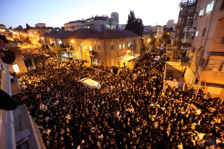 Hundreds of thousands of mourners attended the funeral procession of Shas spiritual leader Rabbi Ovadia Yosef who was buried at the Sanhedriya cemetery on Oct. 7, 2013. (Yaakov Naumi/Flash90)
