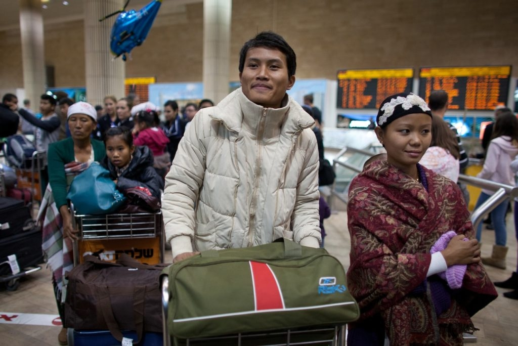 Jewish immigrants of the Bnei Menashe arriving at Ben Gurion airport in Israel, Dec. 24, 2012. (Uriel Sinai/Getty Images)