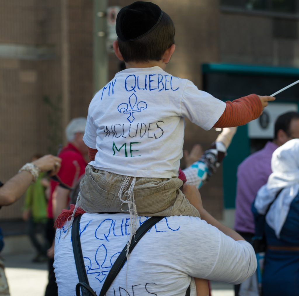 Montreal Jews protesting the proposed Charter of Quebec Values, which aims to restrict public displays of religious faith, Sept 29, 2013. (David Ouellette)