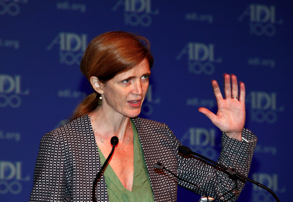 The U.S. ambassador to the United Nations, Samantha Power, addressed the Anti-Defamation League's centennial conference on Oct. 31, 2013.