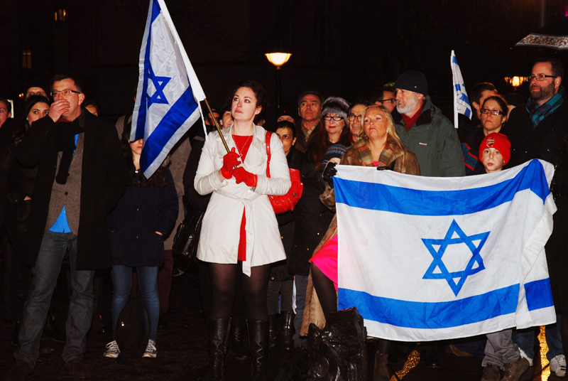 Annika Hernroth-Rothstein (in white coat) at a pro-Israel demonstration on Nov. 22, 2012 in Stockholm. (Anders Henrikson )