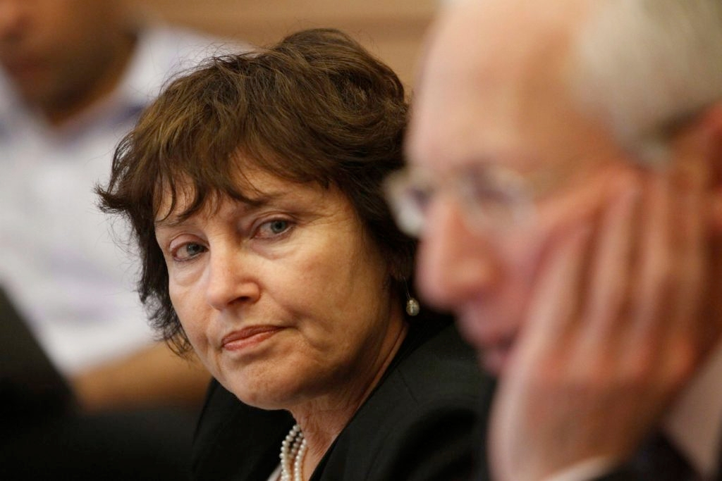 Karnit Flug was named last month to replace Stanley Fisher, right, as governor of the Bank of Israel. (Miriam Alster / Flash 90)