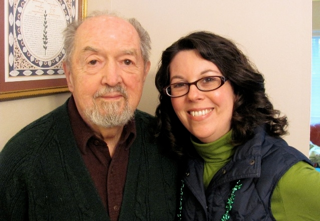 Rabbi Sara O'Donnell Adler and her father, Jim O'Donnell, celebrating St. Patrick's Day.