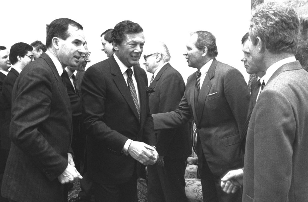 Edgar Bronfman, second from left, meeting with dignitaries during a trip to Prague in 1987 as president of the World Jewish Congress.