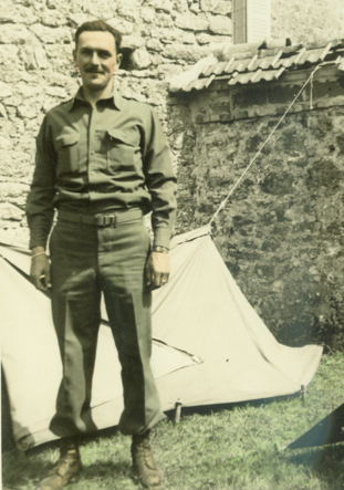 Lt. Frank Towers in Mont Martin-en-Graignes, France, on July 4, 1944. (Courtesy Frank Towers)