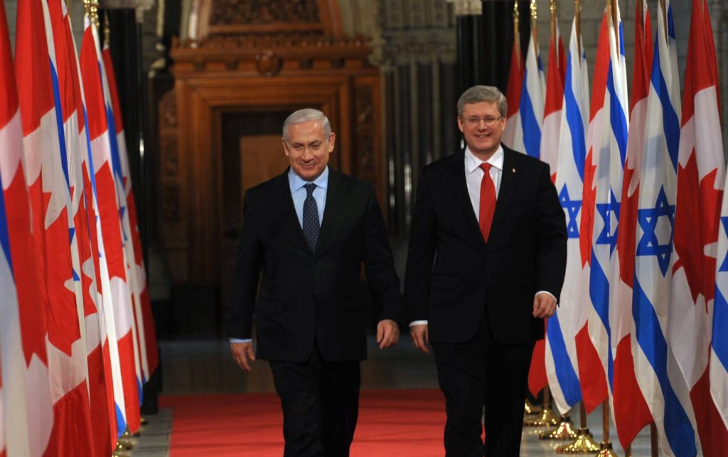 Canadian Prime Minister Stephen Harper meeting with his Israeli counterpart, Benjamin Netanyahu, in Ottawa in 2012. (Amos Ben Gershom/GPO via Getty Images)