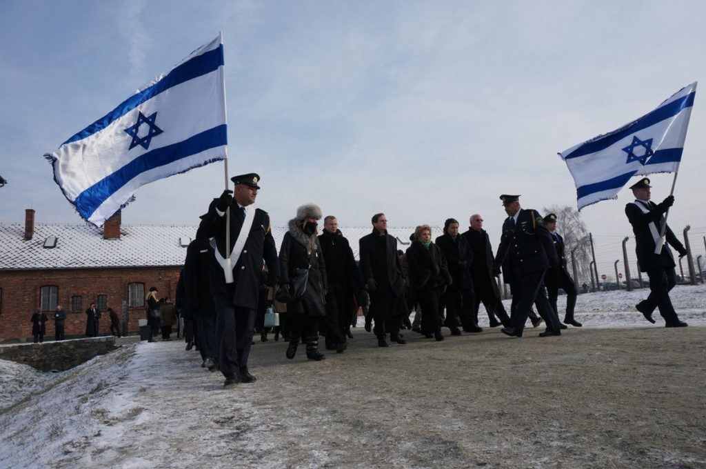 Fifty-eight Israeli lawmakers marked International Holocaust Remembrance Day at Auschwitz, Jan. 27, 2014. (Cnaan Liphshiz)