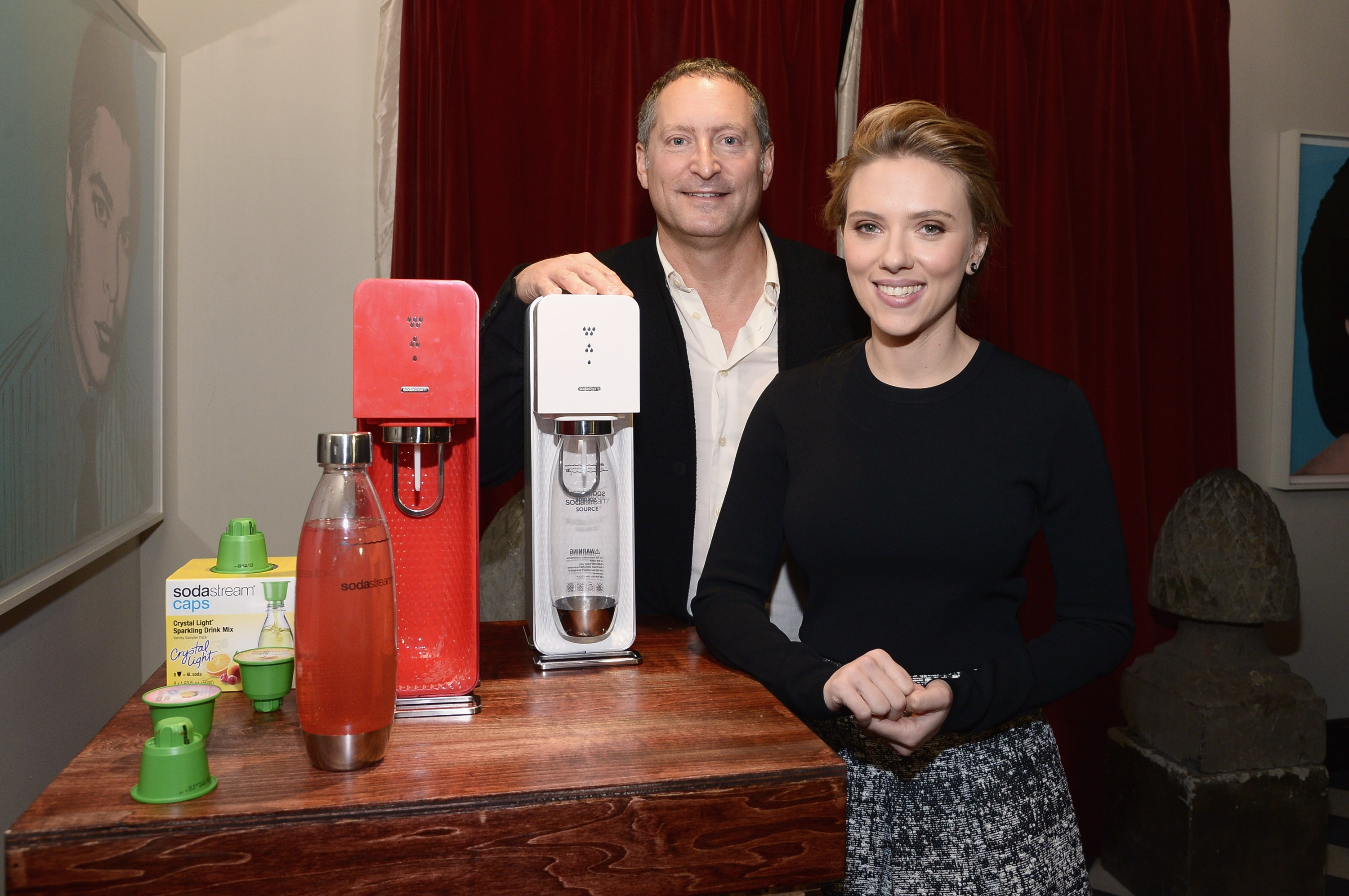 SodaStream CEO Daniel Birnbaum announces Scarlett Johansson as the company's first-ever global brand ambassador on Jan. 10, 2014 in New York City. Mike Coppola/Getty Images for SodaStream)