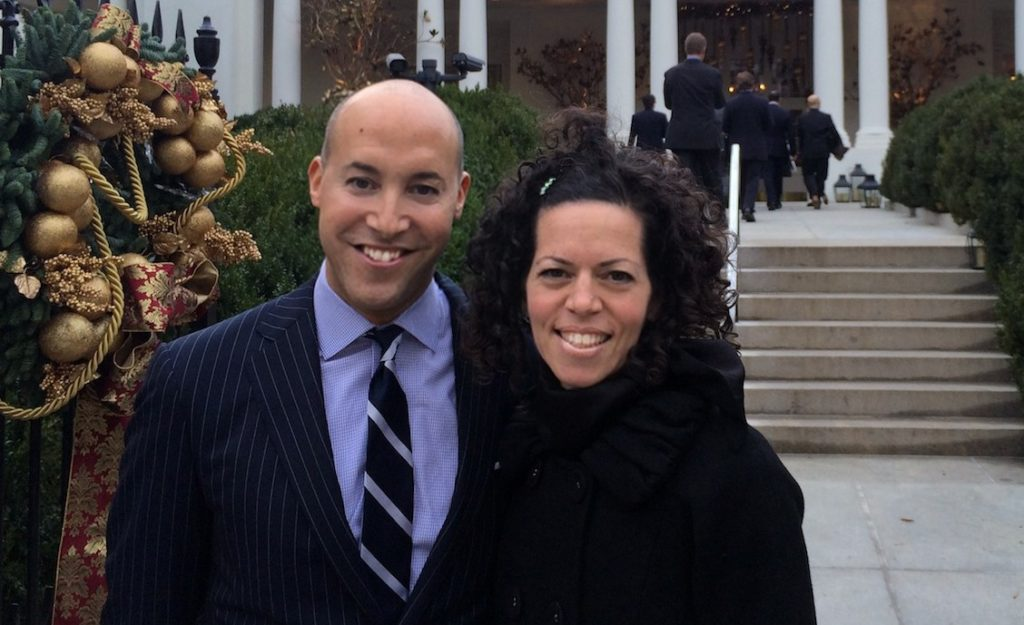 Stosh Cotler, at right, is taking over as CEO of Bend the Arc from Alan van Capelle, at left. They are pictured outside of the White House. (Courtesy of Bend he Arc)
