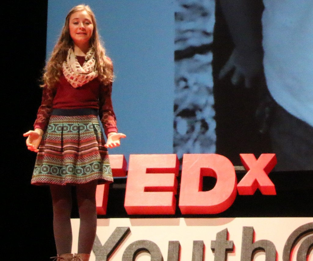 Lauren Maunus speaking about her sister, Rachel, at the TEDX Talks in Miami. (Courtesy Lauren Manus)