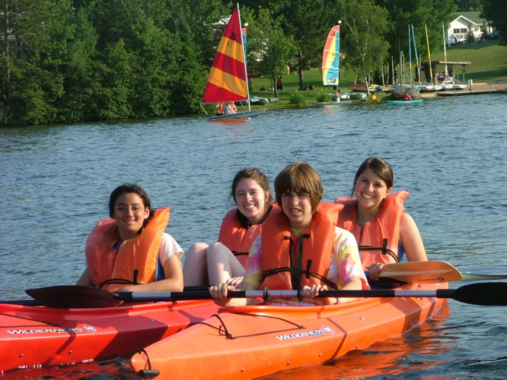 Children with disabilities and their peers kayak at Camp Ramah Wisconsin. (Courtesy National Ramah Commission)