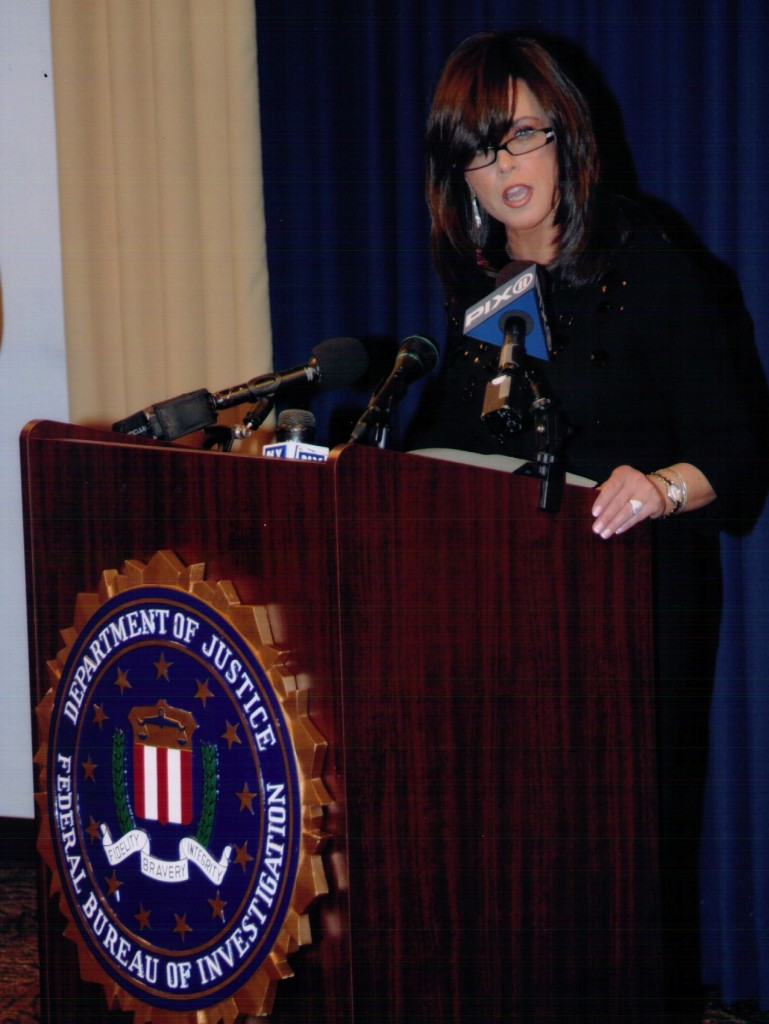 "Devorah Halberstam receives the 2009 community leadership award from the FBI, which calls her a ""vital asset in our fight against terrorism."" (Courtesy of Devorah Halberstam)"
