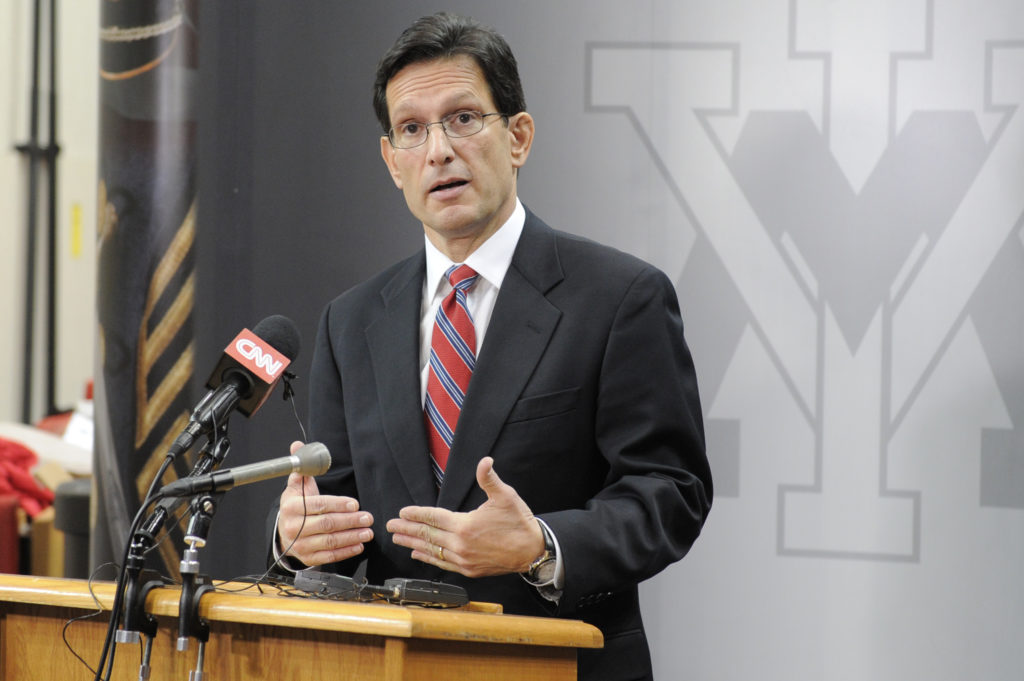 "Rep. Eric Cantor, the House majority leader, delivers an address titled ""An America that Leads"" at the Virginia Military Institute on Feb. 17, 2014. (Courtesy of the House Majority Leader's Office)"