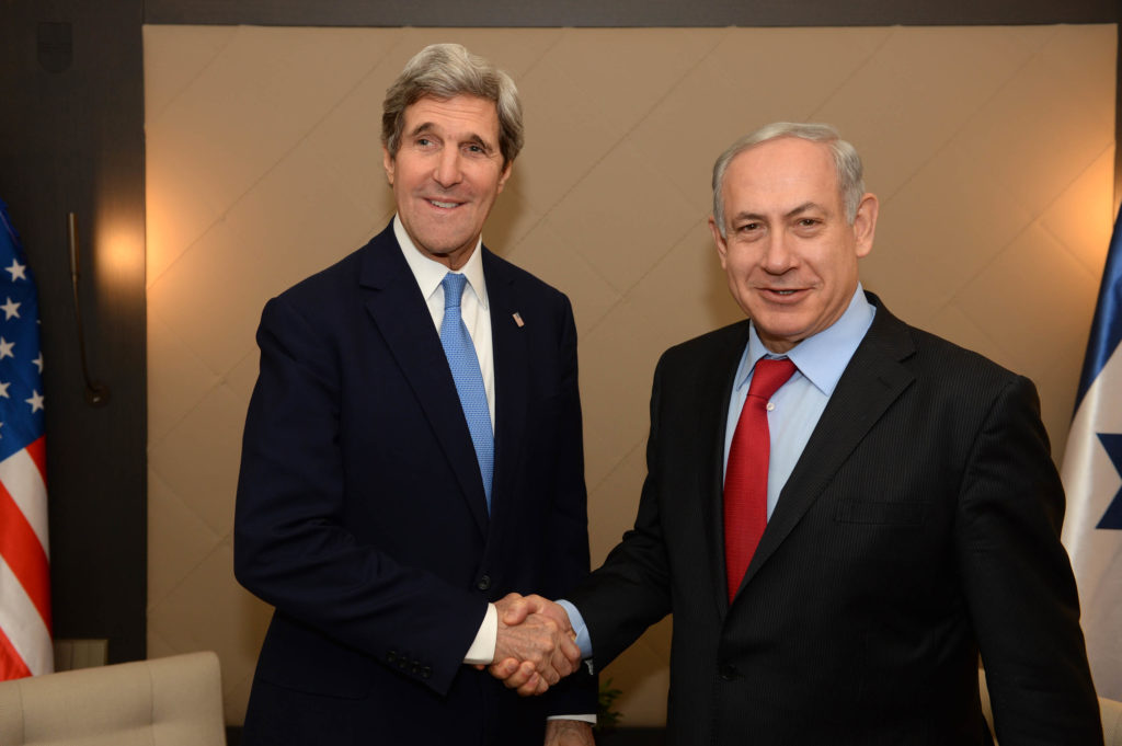 Secretary of State John Kerry and Israeli Prime Minister Benjamin Netanyahu meet during the World Economic Forum on Jan. 24, 2014 in Davos, Switzerland. (Kobi Gideon /Israeli Government Press Office via Getty Images)