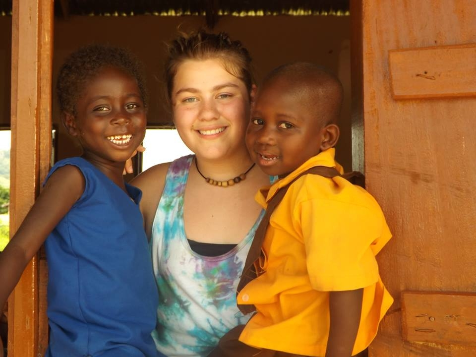 Jessica Baer in Ghana with two of the former child slaves rescued by Breaking the Chain through Education (Courtesy of Michael Baer)
