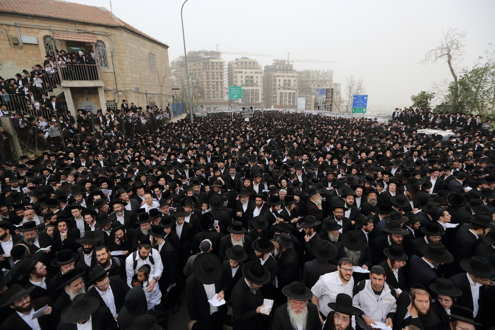 Hundreds of thousands of haredi Orthodox Jews attend a massive protest in Jerusalem. (Yaakov Naumi/FLASH90)