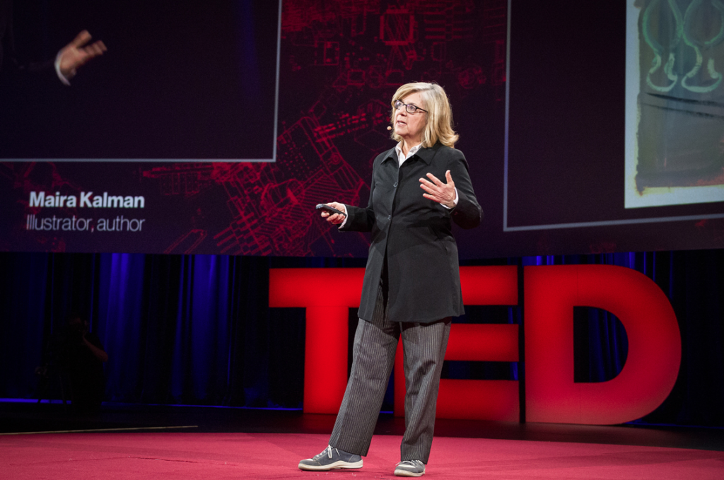 Illustrator Maira Kalman speaks about Arturo Toscanini's stand against fascism -- and his pants, which she was wearing -- at the 2014 TED Conference in Vancouver. (James Duncan Davidson)