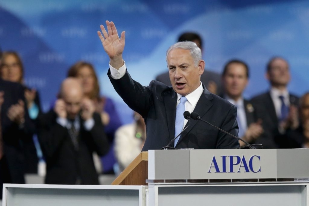 Israeli Prime Minister Benjamin Netanyahu addresses the American Israel Public Affairs Committee's Policy Conference in Washington. (Chip Somodevilla/Getty Images)