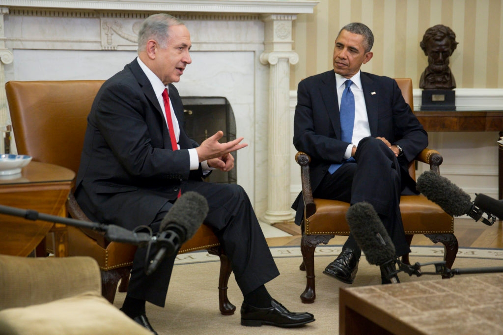 Israel Prime Minister Benjamin Netanyahu sits with President Obama during a meeting in the Oval Office on Mar. 3, 2014 in Washington, D.C. (Andrew Harrer-Pool/Getty Images)
