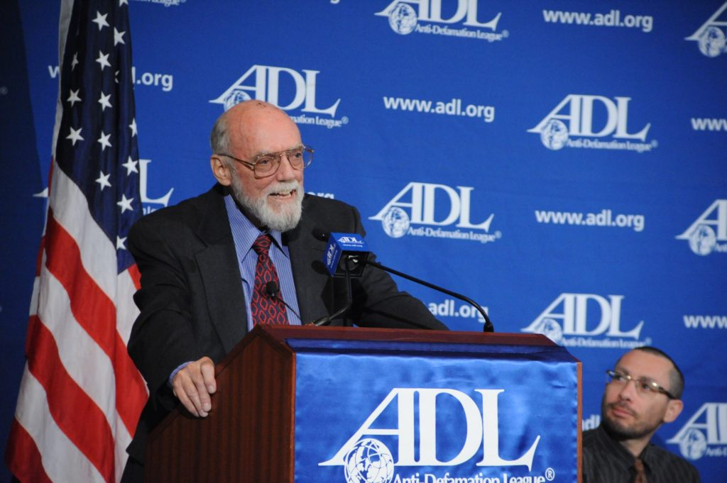 Samuel Lewis, a former U.S. ambassador to Israel, addresses the Anti-Defamation League's National Leadership Conference in April 2008. (Carl Cox)