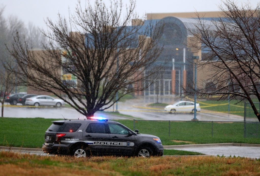 An Overland Park police vehicle sitting in front of the Jewish Community Center of Greater Kansas City, Kan., following shootings there and later at a nearby assisted-living complex that killed a total of three people, April 13, 2014. (Jamie Squire/Getty Images)