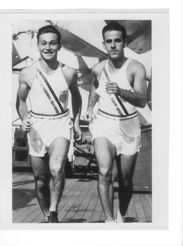 American sprinters Marty Glickman, left, and Sam Stoller, at sea traveling to the 1936 Olympics, were prevented from competing at the games in Berlin but will be posthumously honored at the 2015 European Maccabi Games there. (Courtesy Nancy Glickman)