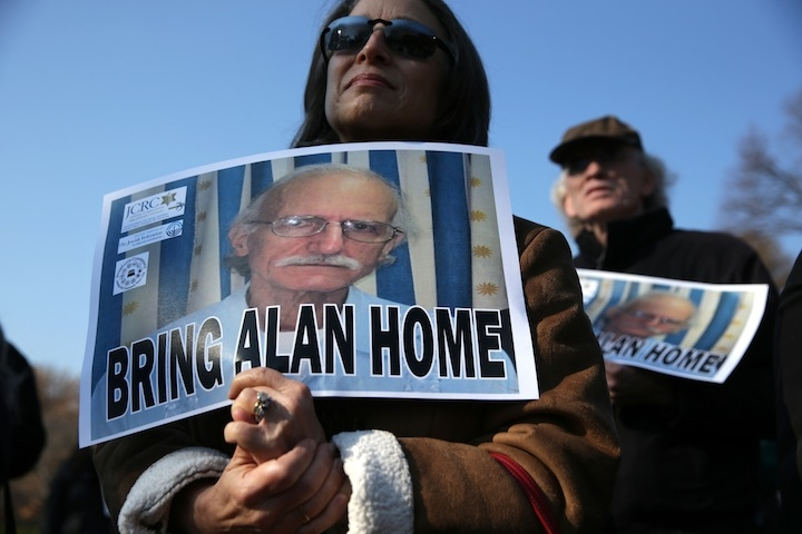 Supporters of Alan Gross, who is currently being held in a Cuban prison, rally outside the White House on Dec. 3, 2013. (Alex Wong/Getty Images)