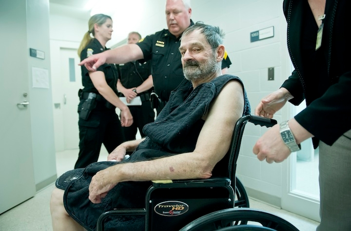 Frazier Glenn Miller appears at his arraignment on capital murder and first-degree murder charges on April 15, 2014 in New Century, Kan. Miller is charged in relation to three shooting deaths outside Jewish institutions on April 13. (David Eulitt-Pool/Getty Images)
