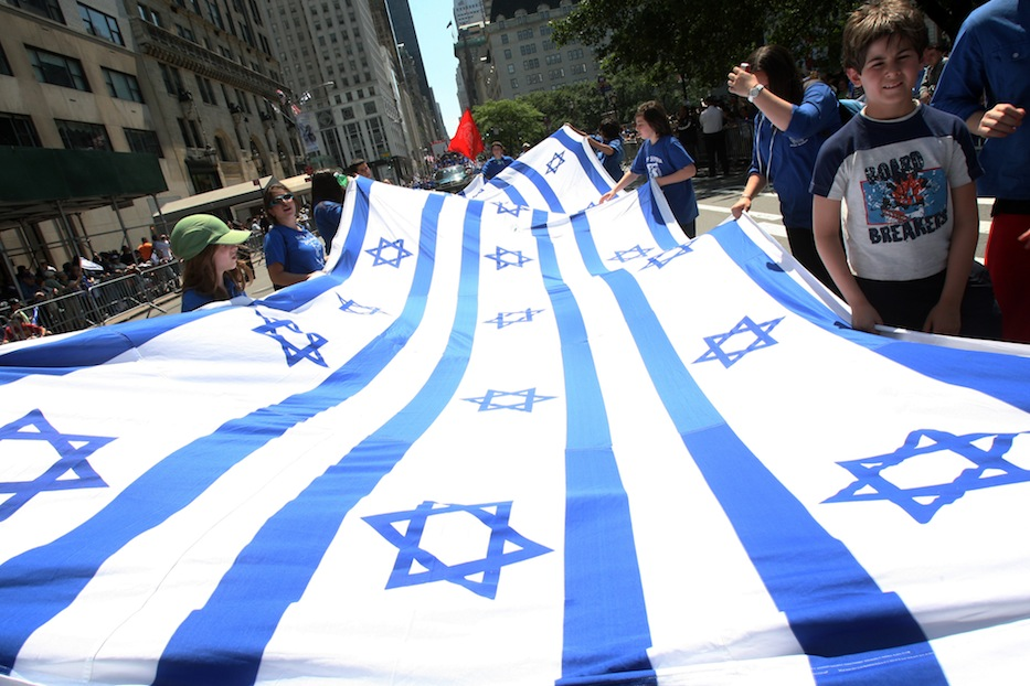 Participants in the annual Salute to Israel Parade march in New York on May 31, 2009 in New York. (Hiroko Masuike/Getty Images)