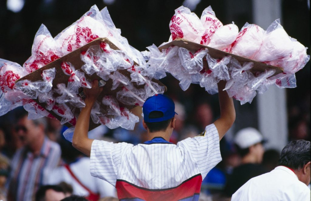 A cotton candy vendor roams the Wrigley Field stands in 1994. (Jonathan Daniel/Getty Images)