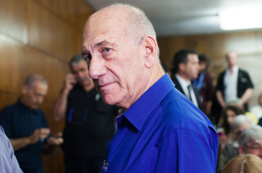 Former Israeli Prime Minister Ehud Olmert seen at the District Court in Tel Aviv where he was sentenced to six years in prison on May 13, 2014. (Yotam Ronen/Flash90)