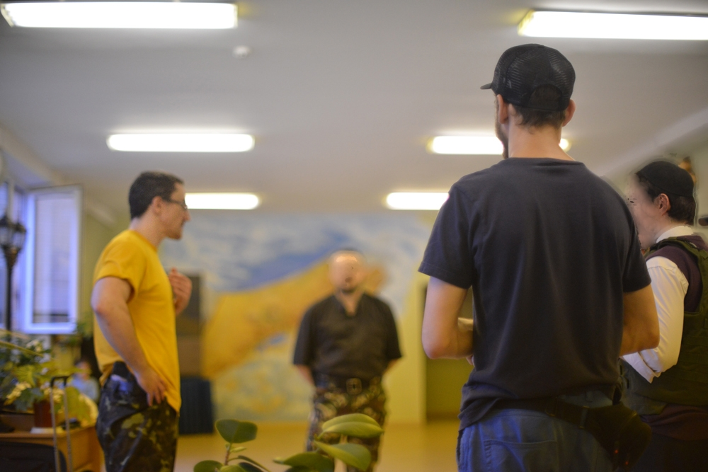 Members of Kiev's Jewish Self-Defense Force train at the a Jewish school on May 21, 2014. (Cnaan Liphshiz/JTA)