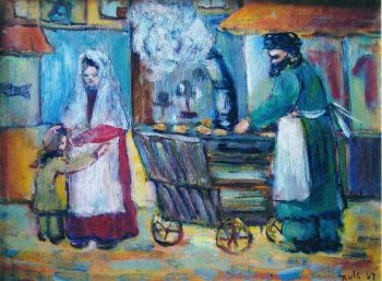 Ruth Arembud's painting of a Lower East Side vendor will be displayed at the Eldridge Street Synagogue. (Courtesy Museum at Eldridge Street)