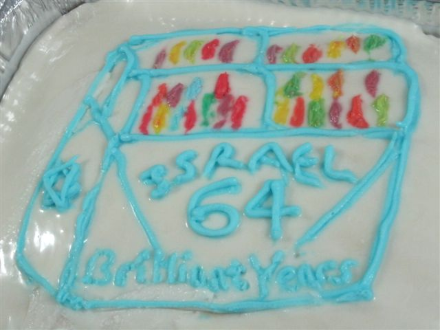 For Israel's 64th, the picture on the cake was a 64-count box of Crayolas. (Marcy Oster)