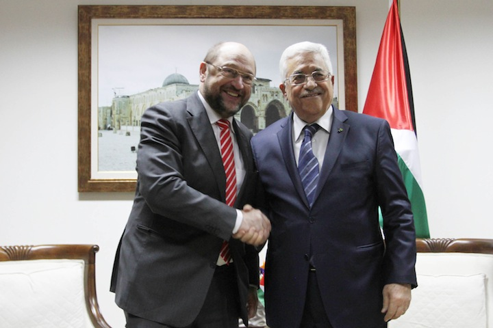 Palestinian Authority President Mahmoud Abbas meets with European Parliament President Martin Schulz in the West Bank city of Ramallah on February 10, 2014. (Issam Rimawi/Flash 90)