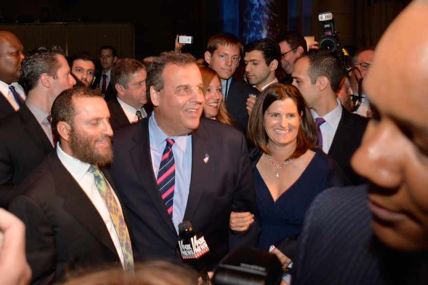 Rabbi Shmuley Boteach, Chris Christie and Mary Pat Foster attend World Jewish Values Network second annual gala dinner on May 18, 2014 in New York City. (Ben Gabbe/Getty Images)