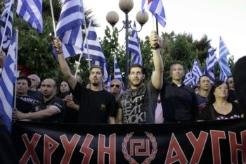 Supporters of the Greek ultra-nationalist party Golden Dawn attend a rally on May 23, 2014 in Athens before European Parliament elections.  (Milos Bicanski /Getty Images)