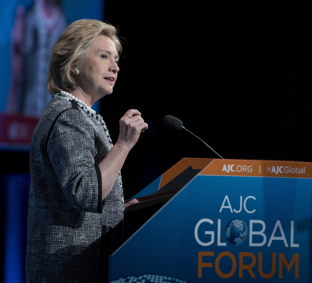 Hillary Rodham Clinton speaks at the American Jewish Committee's Global Forum on May 14. (Ronald Sachs)