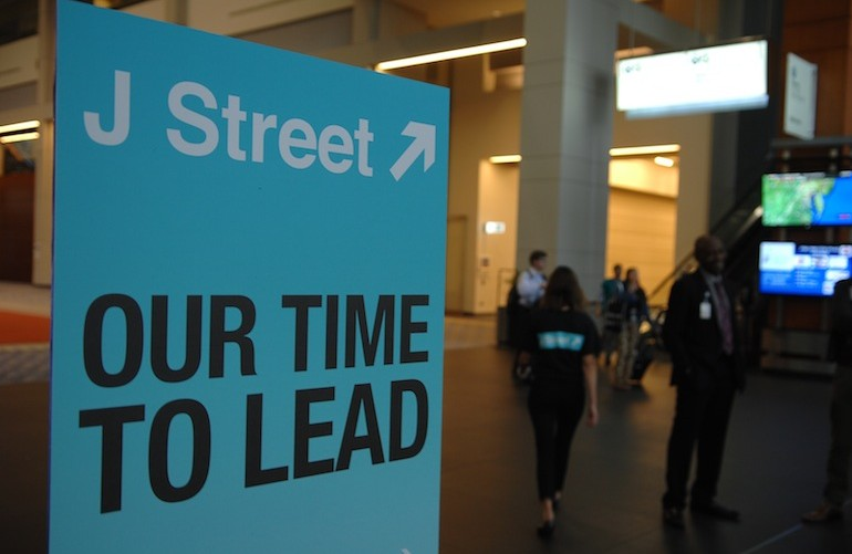 A sign welcomes attendees at J Street's 2013 national conference in Washington. (Courtesy of J Street)