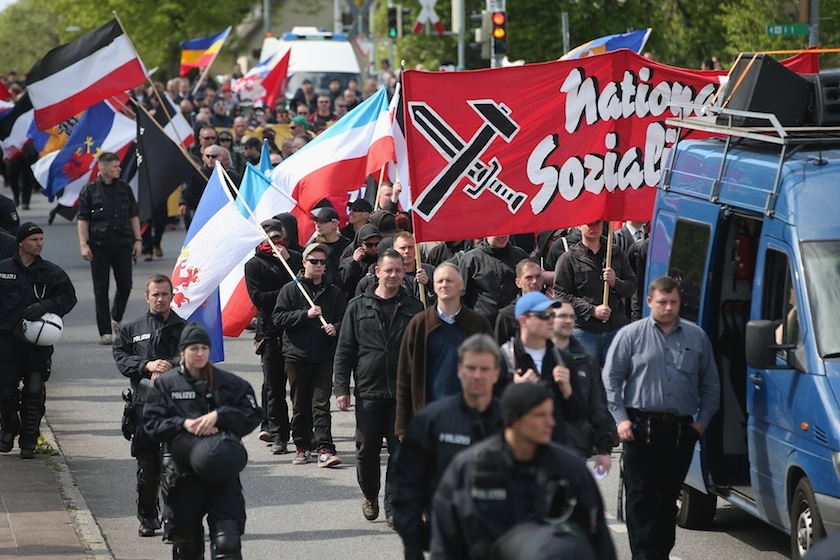 Some 250 supporters of the far-right National Democratic Party marched, accompanied by riot police, on May Day in Rostock, Germany, on May 1, 2014. (Sean Gallup/Getty Images)