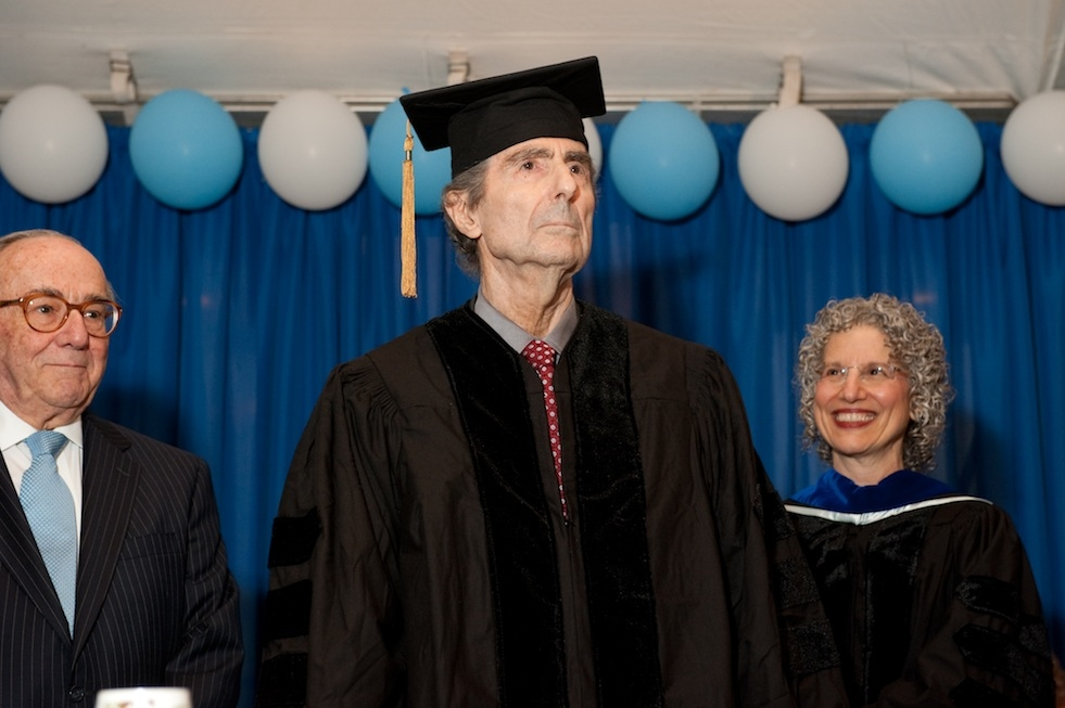 Philip Roth receives an honorary doctorate at the Jewish Theological Seminary's commencement in New York on May 22, 2014. (Ellen Dubin Photography)