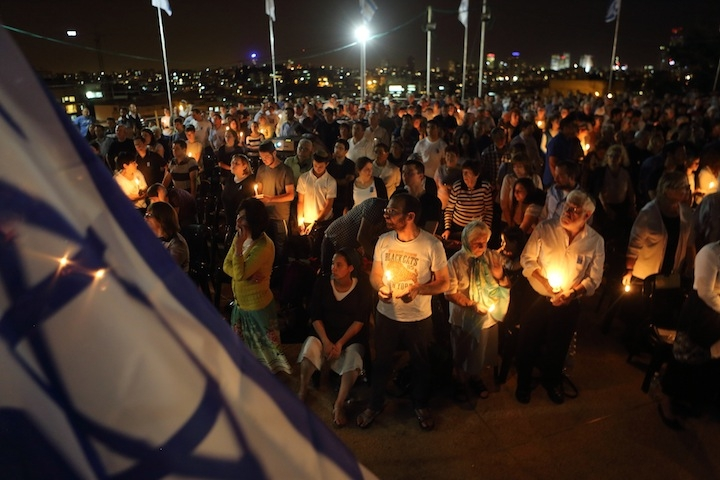 The eve of Israel's Memorial Day, Yom Hazikaron, is observed at a memorial ceremony in the heavily haredi Orthodox city of Bnei Brak on May 4, 2014. (Yaakov Naumi/Flash90)