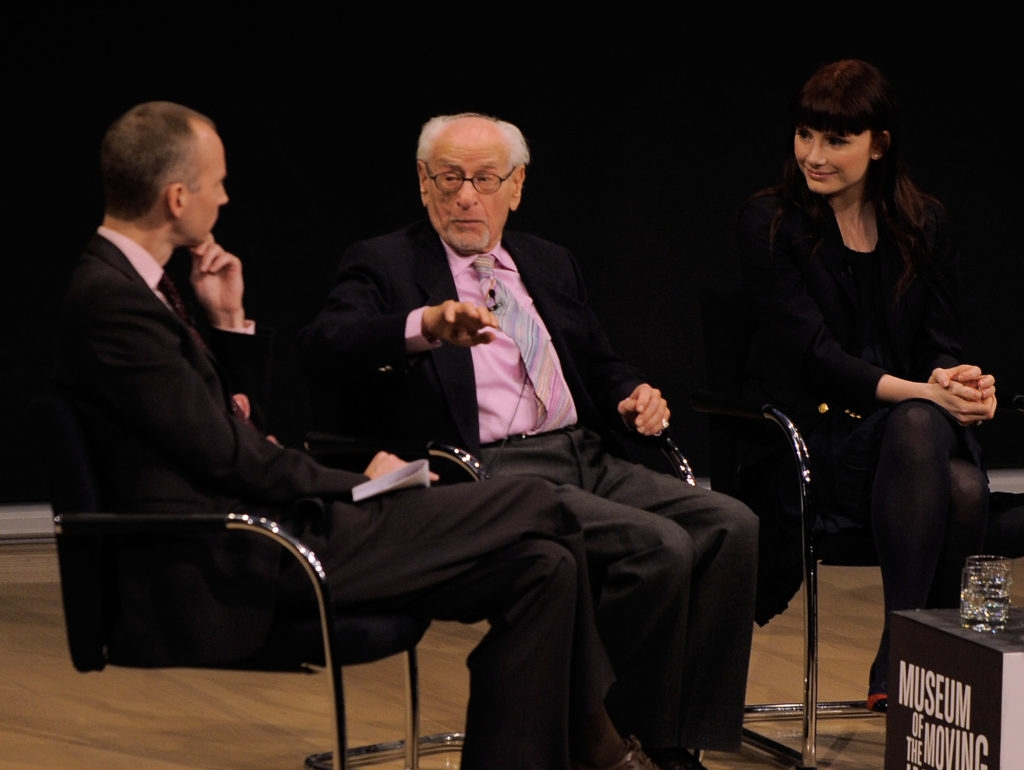 Actor Eli Wallach appears with theater critic Charles Isherwood and actress Bryce Dallas Howard  at a panel discussion at The Times Center on  Dec. 9, 2009 in New York City. (Jemal Countess/Getty Images)