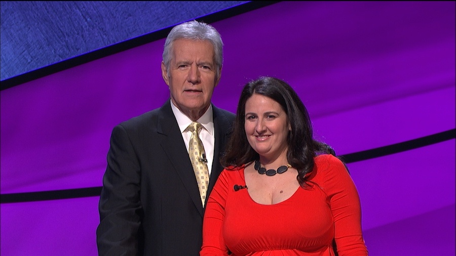 "Rabbi Sari Laufer, with ""Jeopardy"" host Alex Trebek, will appear on the show Wednesday night. (Courtesy Jeopardy Productions, Inc.)"