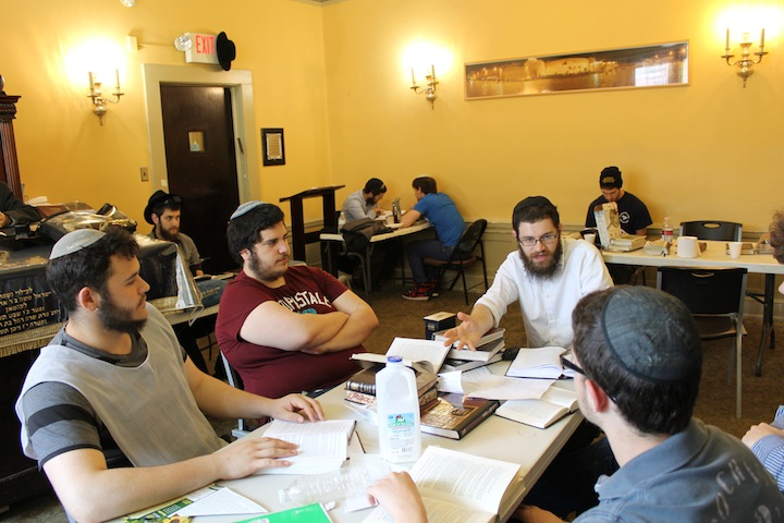 Most of the Torah study at the yeshiva in Wilkes-Barre takes place in small groups. (Uriel Heilman/JTA)